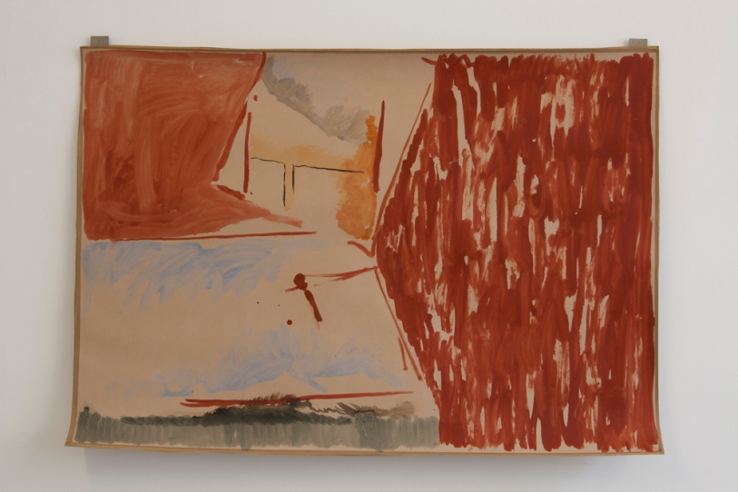 An isle and a distance (paper), 2013, Oil on paper with gumtape, 73 x 102.5 cm
