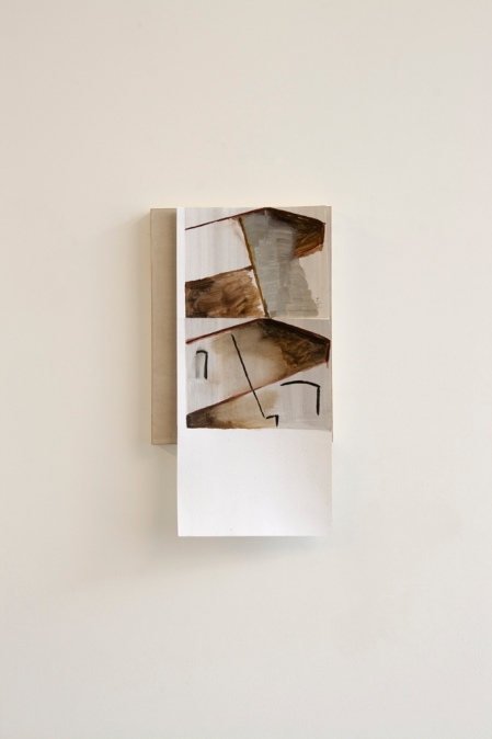 Pebbles, grits and sands (1), 2013, Oil paint and ink on paper on wooden panel, 34 x 18.5 cm