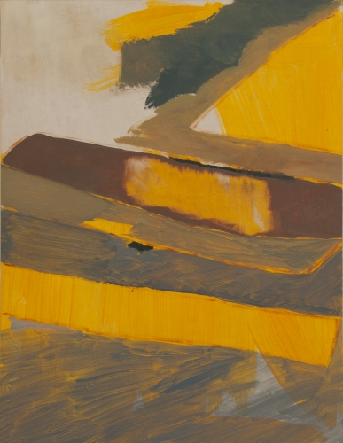 Jetty (golden over green), 2014, Oil on wooden panel, 45 x 34.5 cm