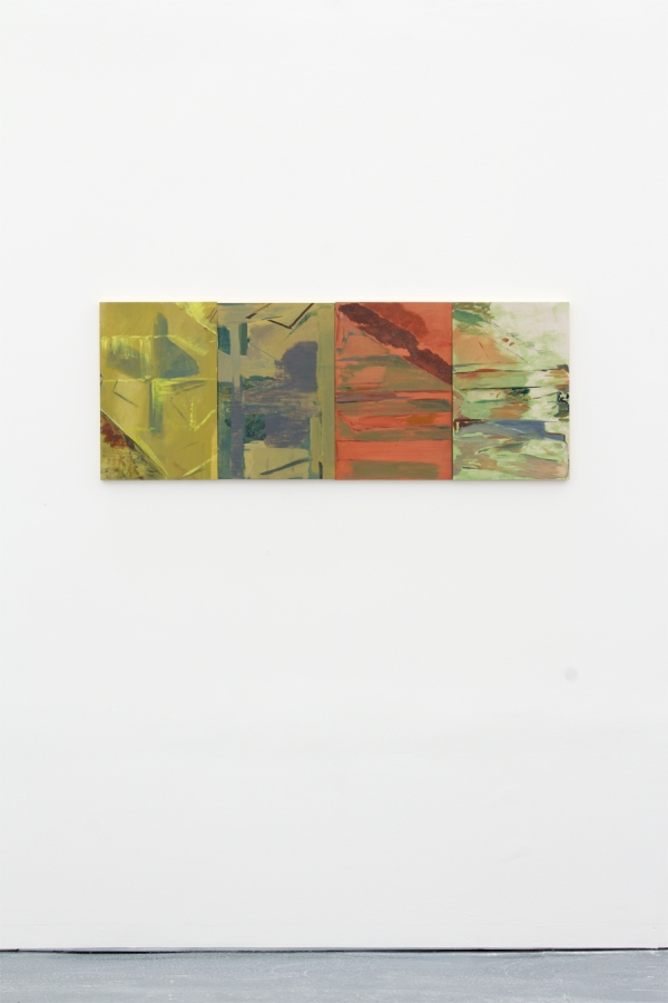 Jetty (broad leaf frown rain), 2015, Oil paint on four panels, 45.4 cm x 120 cm long view low res
